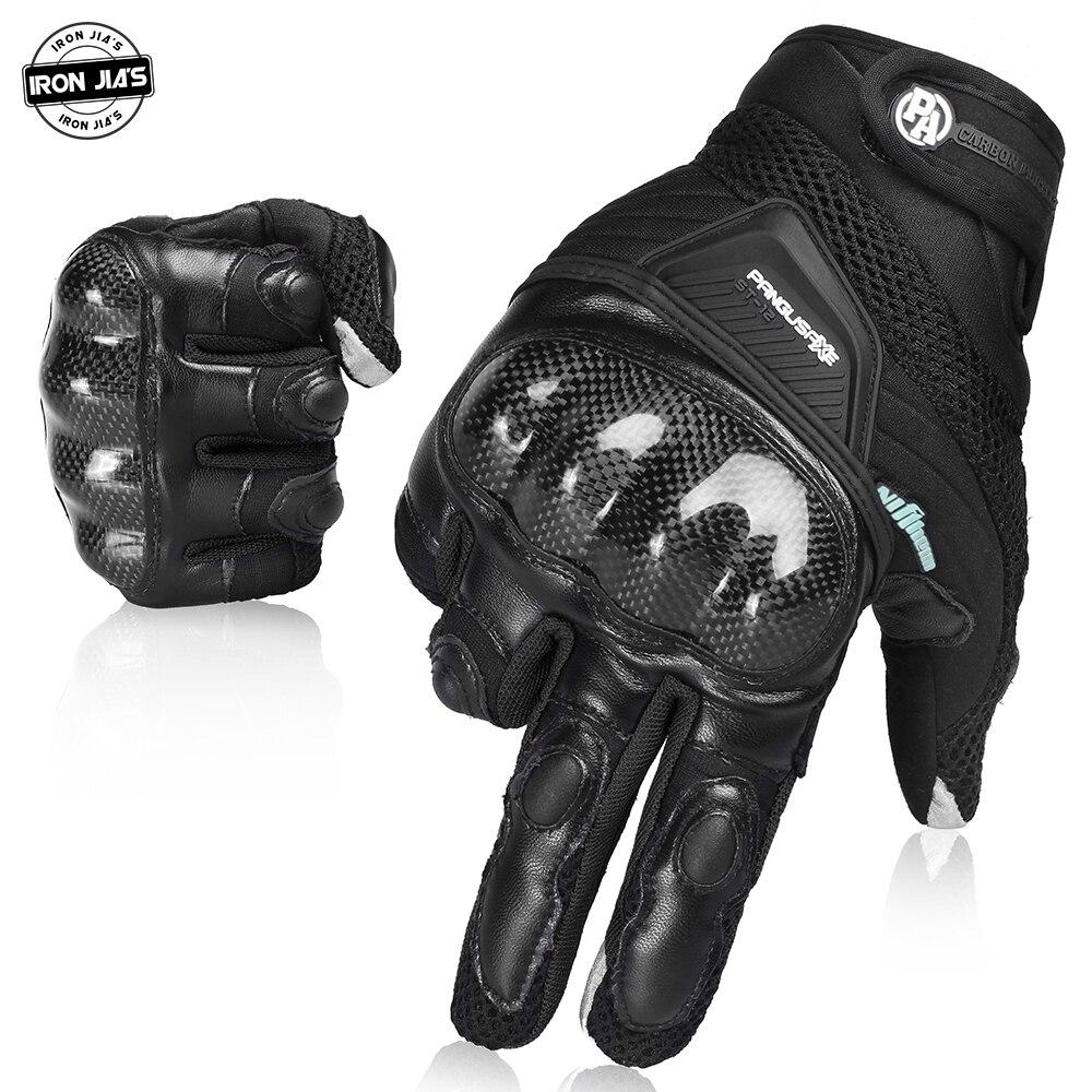 IRON JIA'S Summer Motorcycle Gloves Men Breathable Full Finger Carbon Fiber Protection Motocross Moto Motorbike Riding Gloves